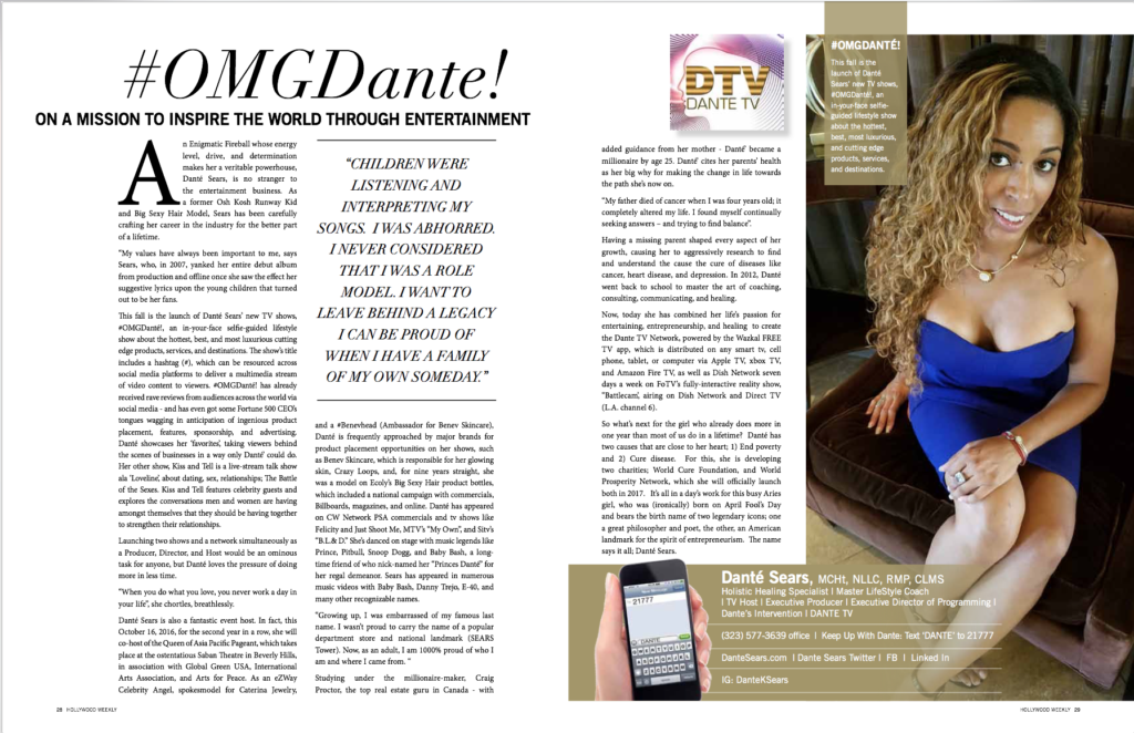 Dante Sears featured in a 2 page article for August Issue of Hollywood Weekly Magazine.